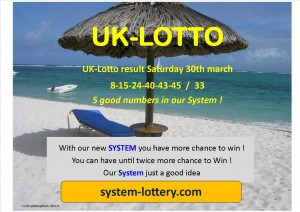 Photo image uk lotto result saturday 30th march numbers winning are 8 15 24 40 43 45 and 33 our system for win 300x212 UK LOTTO RESULTS SATURDAY 30 TH MARCH OUR SYSTEM !